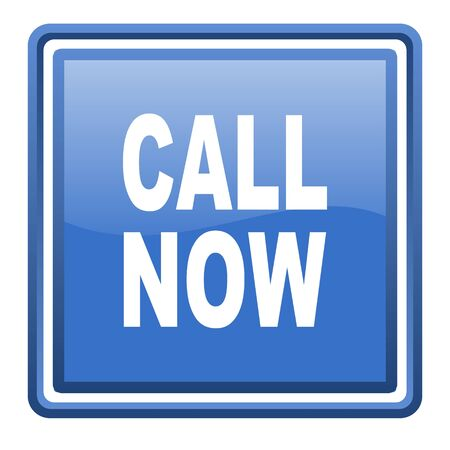 call now blue glossy square web icon isolated photo