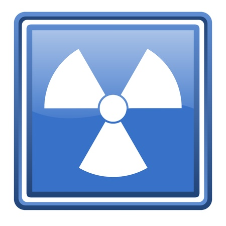 radiation blue glossy square web icon isolated photo