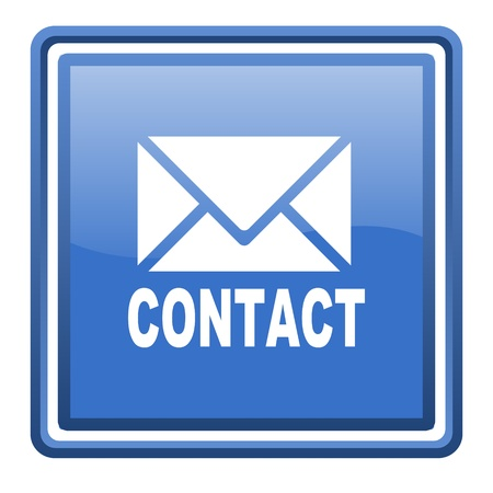 contact blue glossy square web icon isolated photo