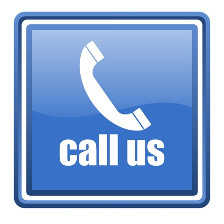 call us blue glossy square web icon isolated photo