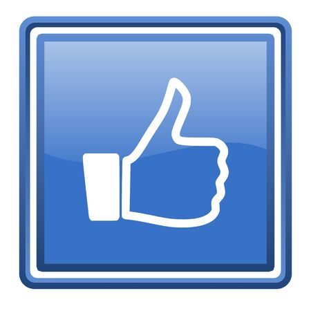 thumb up blue glossy square web icon isolated photo