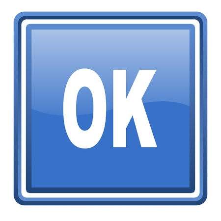 ok blue glossy square web icon isolated photo