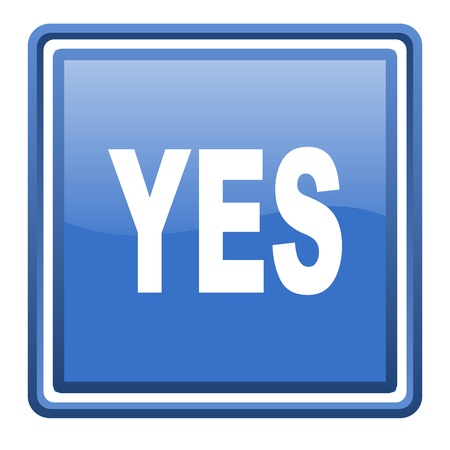 yes blue glossy square web icon isolated photo