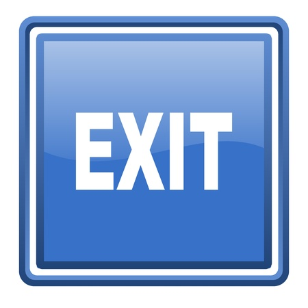 exit blue glossy square web icon isolated Stock Photo - 17093116