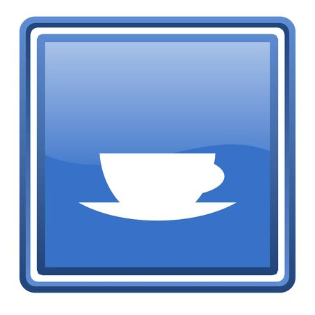 coffee cup blue glossy square web icon isolated Stock Photo - 17093043