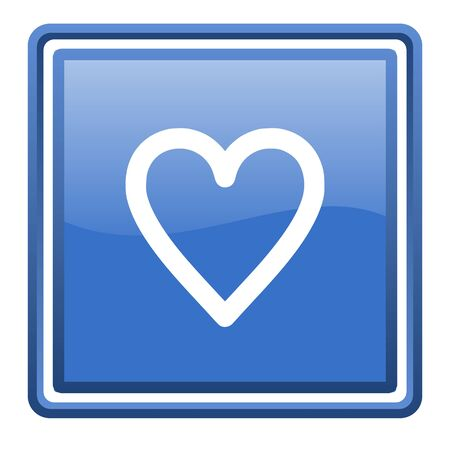 heart blue glossy square web icon isolated Stock Photo - 17109922