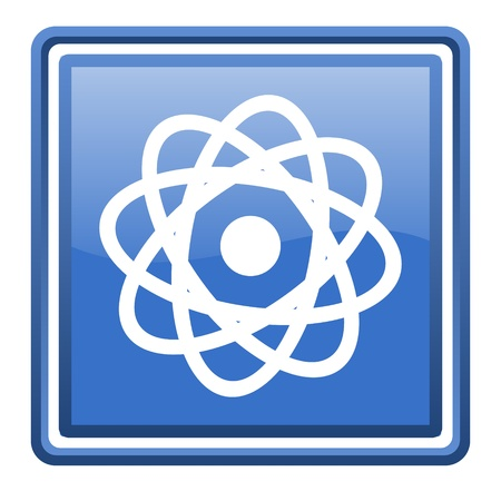 atom blue glossy square web icon isolated photo
