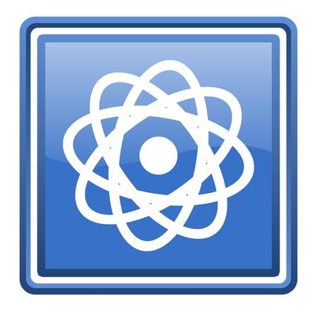 atom blue glossy square web icon isolated Stock Photo - 17110142
