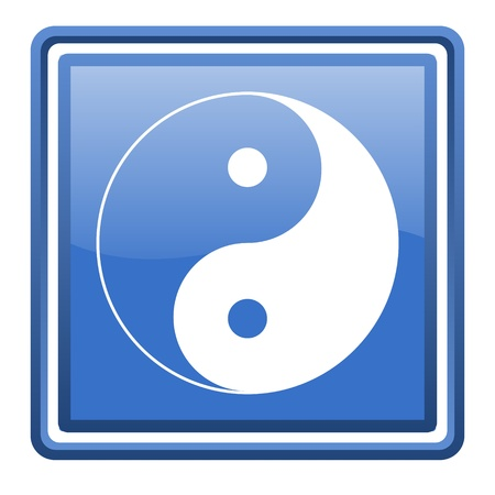 yang ying: ying yang blue glossy square web icon isolated Stock Photo