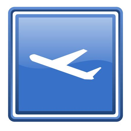 airplane blue glossy square web icon isolated photo