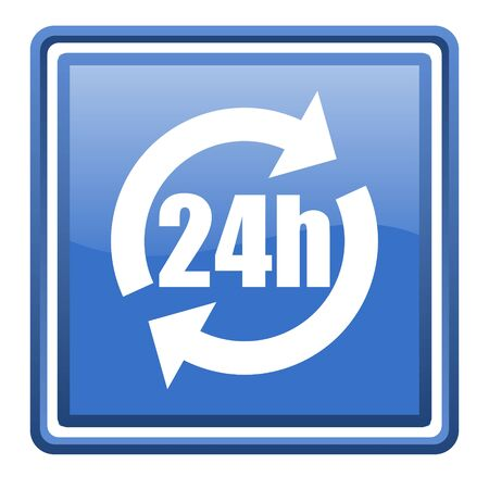 24h blue glossy square web icon isolated photo