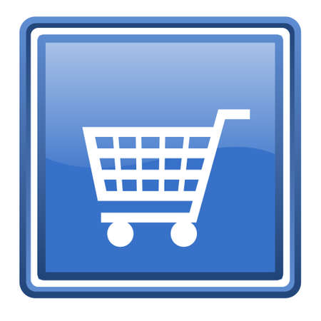 shopping cart blue glossy square web icon isolated photo