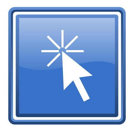 click here blue glossy square web icon isolated Stock Photo - 17109918