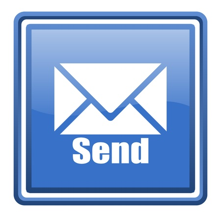 send blue glossy square web icon isolated photo