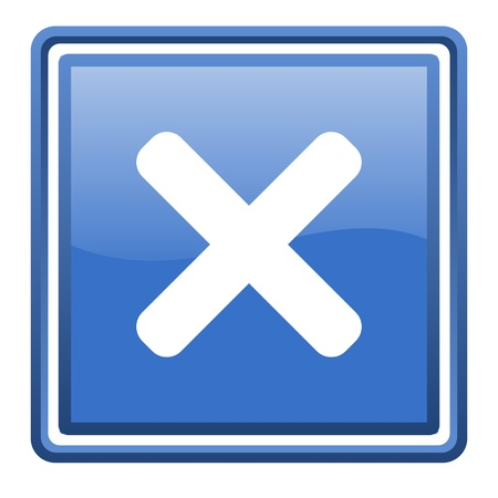 cancel blue glossy square web icon isolated Stock Photo - 17093108
