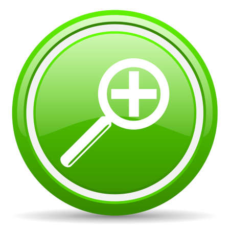 green glossy circle web icon on white background with shadow Stock Photo - 17139447