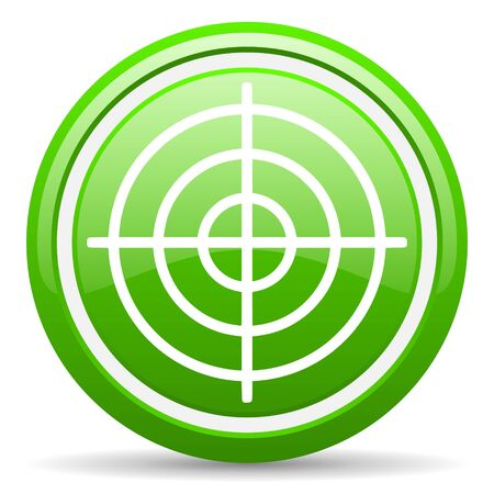 green glossy circle web icon on white background with shadow Stock Photo - 17140188
