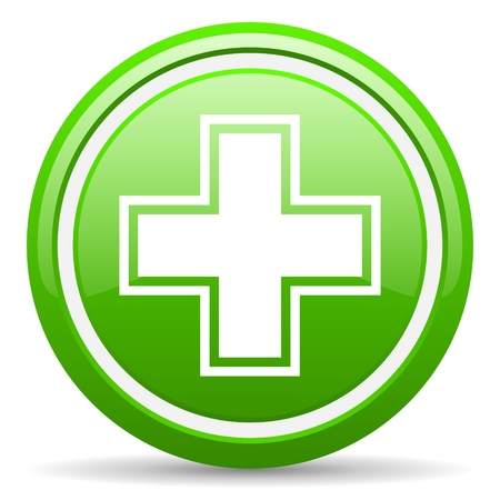 pharmacy icon: green glossy circle web icon on white background with shadow Stock Photo