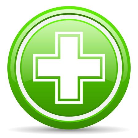 green glossy Kreis Web-Symbol auf weißem Hintergrund mit Schatten Standard-Bild