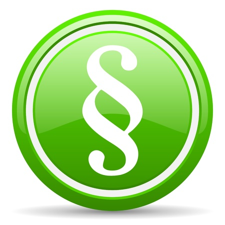 injustice: green glossy circle web icon on white background with shadow Stock Photo
