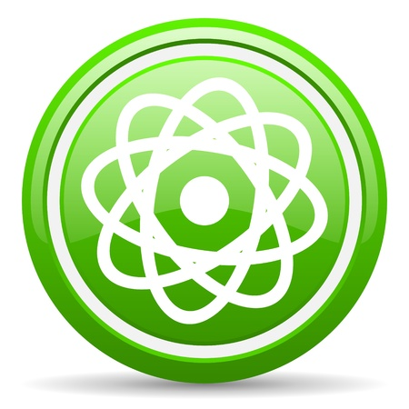 green glossy circle web icon on white background with shadow Stock Photo - 17140154