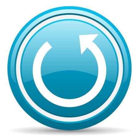 blue circle glossy web icon with shadow on white background illustration Stock Illustration - 17139520