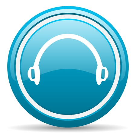 blue circle glossy web icon with shadow on white background illustration Stock Illustration - 17139354