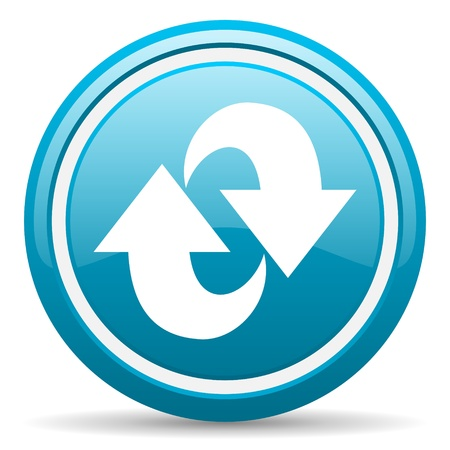 blue circle glossy web icon with shadow on white background illustration Stock Illustration - 17139345