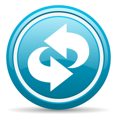 blue circle glossy web icon with shadow on white background illustration Stock Illustration - 17139409