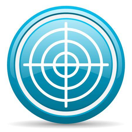 blue circle glossy web icon with shadow on white background illustration Stock Illustration - 17140178
