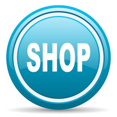 blue circle glossy web icon with shadow on white background illustration Stock Illustration - 17139444