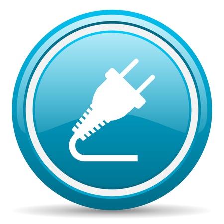 blue circle glossy web icon with shadow on white background illustration Stock Illustration - 17139446