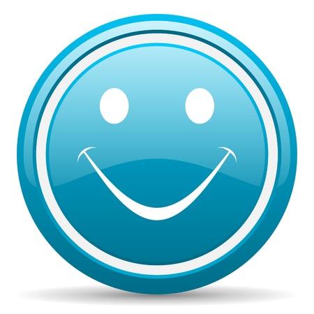 blue circle glossy web icon with shadow on white background illustration Stock Illustration - 17139519