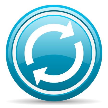 blue circle glossy web icon with shadow on white background illustration Stock Illustration - 17139569