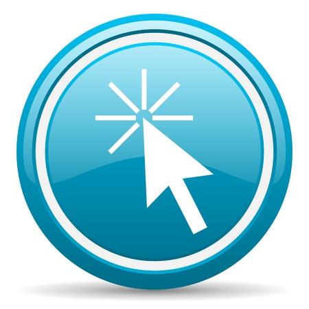 blue circle glossy web icon with shadow on white background illustration Stock Illustration - 17139518