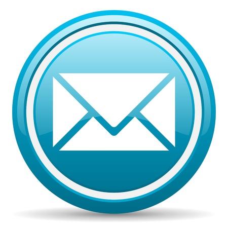 icona busta: blu cerchio icona web lucida con ombra su sfondo bianco illustrazione