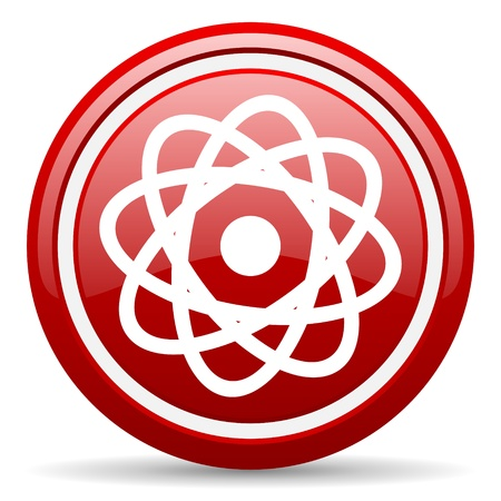 red glossy circle web icon on white background with shadow Stock Photo - 17196280