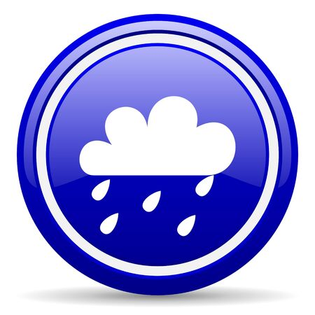 meteo: blue glossy circle web icon on white background with shadow