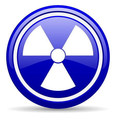 gamma radiation: blue glossy circle web icon on white background with shadow