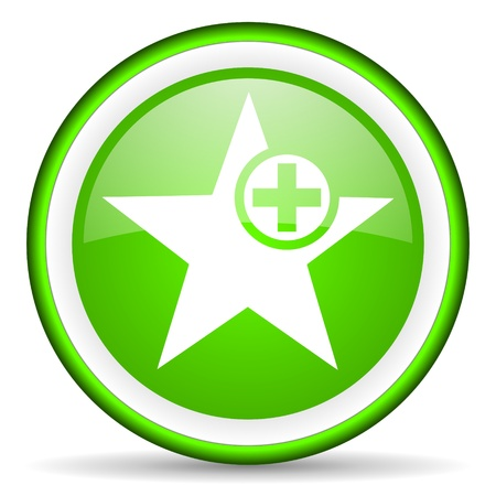 green plus: green circle glossy web icon with pictogram on white background