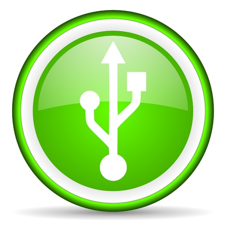 green circle glossy web icon with pictogram on white background Stock Photo - 17318949