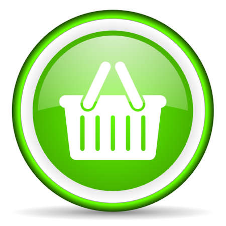 green circle glossy web icon with pictogram on white background Stock Photo - 17319010