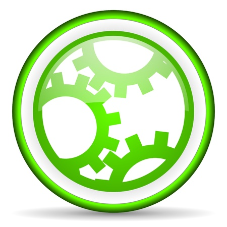 green circle glossy web icon with pictogram on white background photo