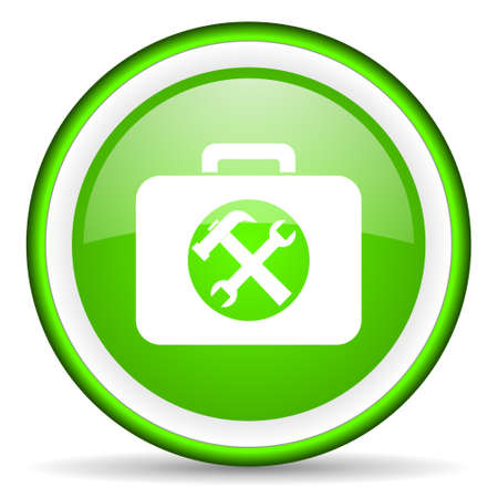 green circle glossy web icon with pictogram on white background Stock Photo - 17319008