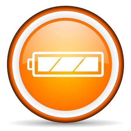orange circle glossy web icon with pictogram on white background Stock Photo - 17318877
