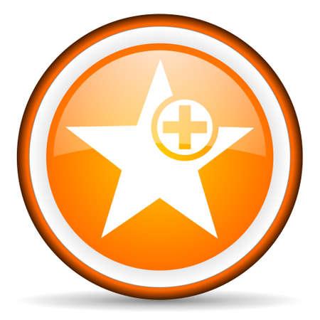 orange circle glossy web icon with pictogram on white background Stock Photo - 17318890