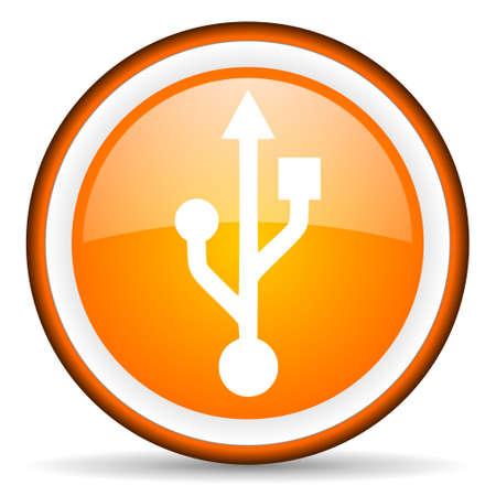 orange circle glossy web icon with pictogram on white background Stock Photo - 17318837