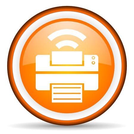 orange circle glossy web icon with pictogram on white background Stock Photo - 17318894