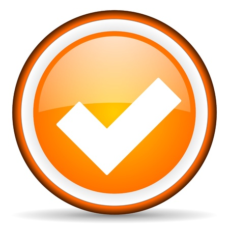 orange circle glossy web icon with pictogram on white background Stock Photo - 17318736