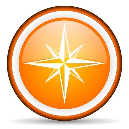 orange circle glossy web icon with pictogram on white background Stock Photo - 17319131